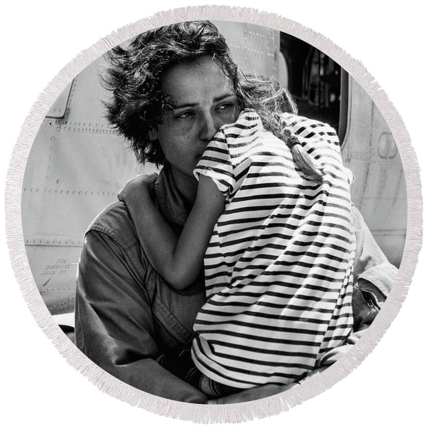 Usmc Round Beach Towel featuring the photograph Mothers Day - Mommy Is Home From The War by Tommy Anderson