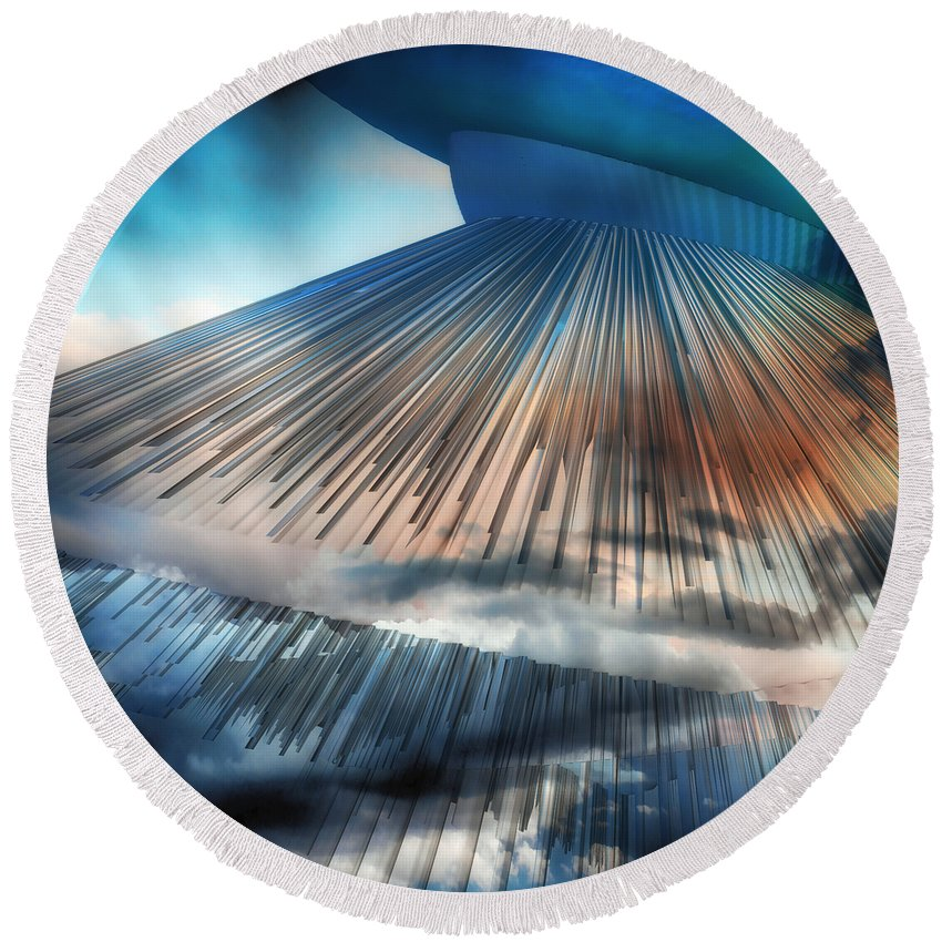 Science Fiction Round Beach Towel featuring the digital art Mothership by Angelina Vick