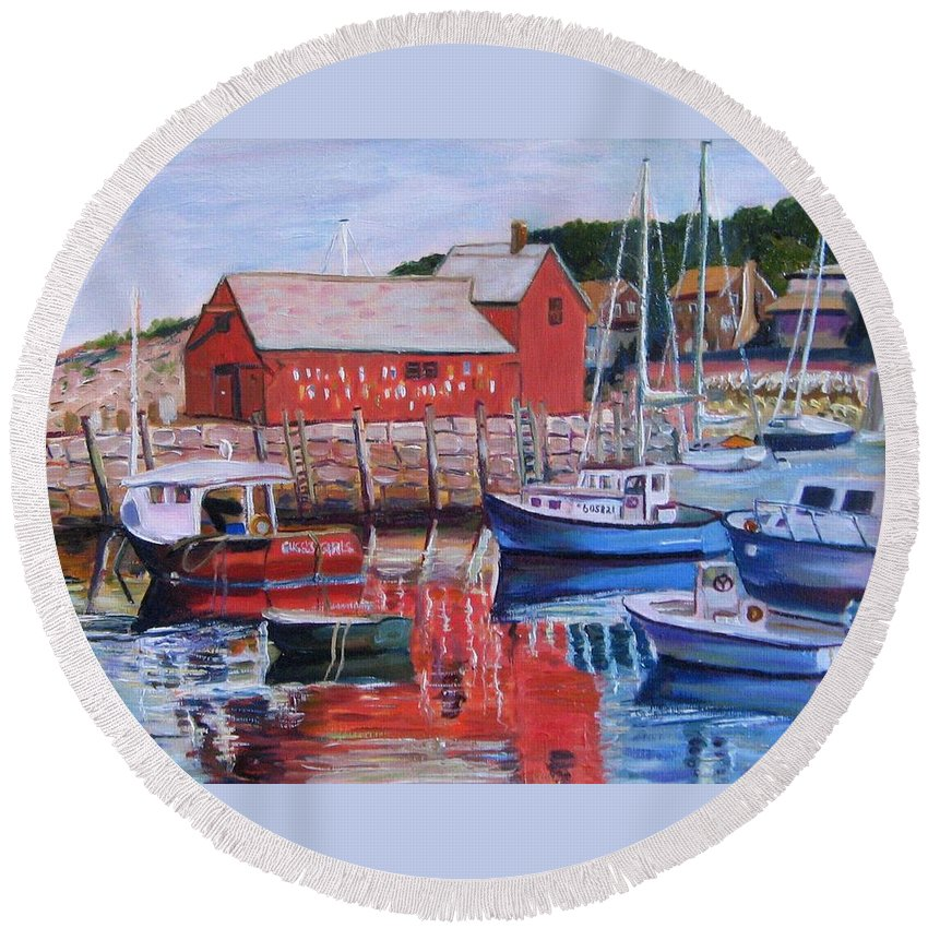Rockport Round Beach Towel featuring the painting Motif Number One by Richard Nowak