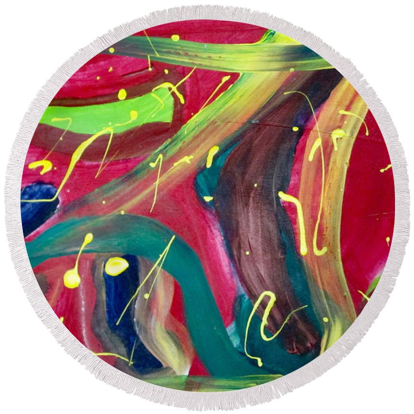 Red Round Beach Towel featuring the painting Motion by Cheryl Viering