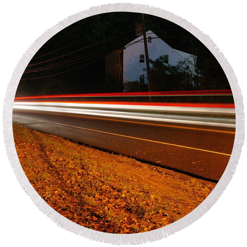 Cars Round Beach Towel featuring the photograph Motion by Cj Mainor