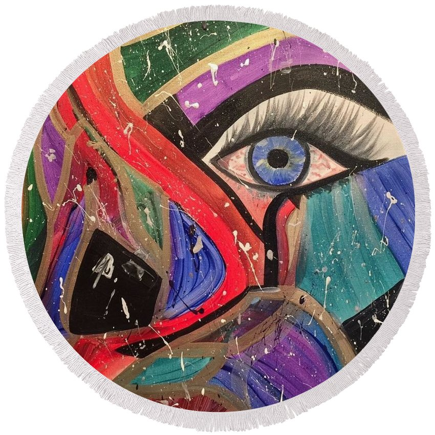 Abstract Round Beach Towel featuring the painting Motley Eye by Alisha Anglin