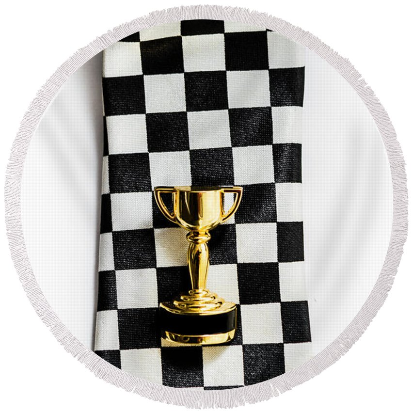 1st Round Beach Towel featuring the photograph Motor Sport Racing Tie And Trophy by Jorgo Photography - Wall Art Gallery