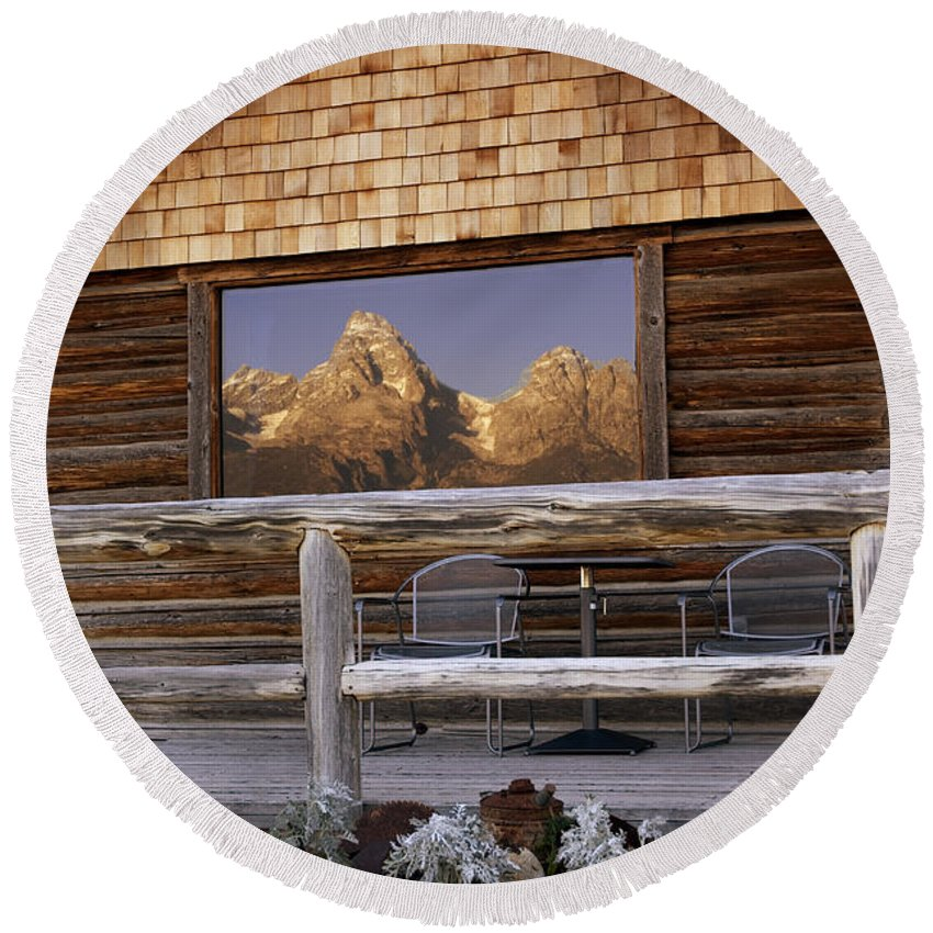 Late Snow Round Beach Towel featuring the photograph Moulton Ranch Cabin Reflection Grand Tetons by Gary Langley