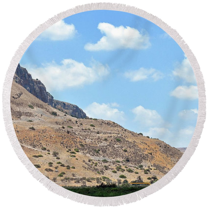 Mount Arbel Round Beach Towel featuring the photograph Mount Arbel 5 by Lydia Holly