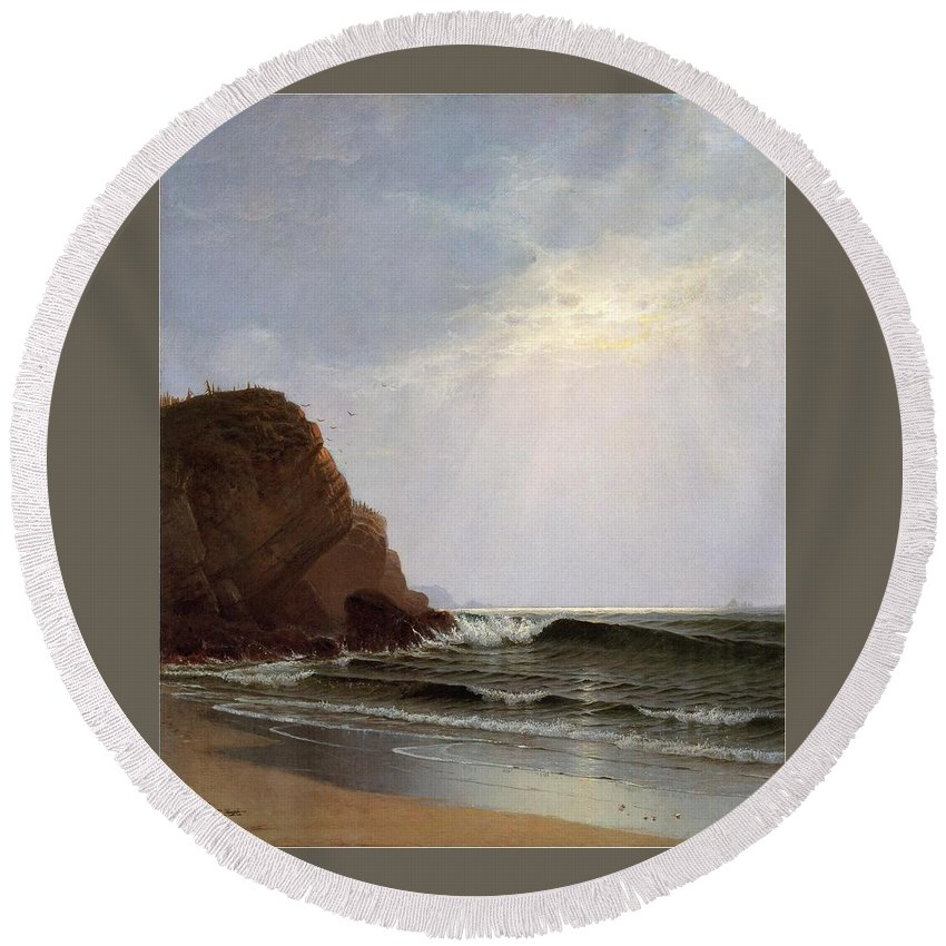 Alfred Thompson Bricher (1837-1908) Otter Cliffs Round Beach Towel featuring the painting Mount Desert Island by Alfred Thompson