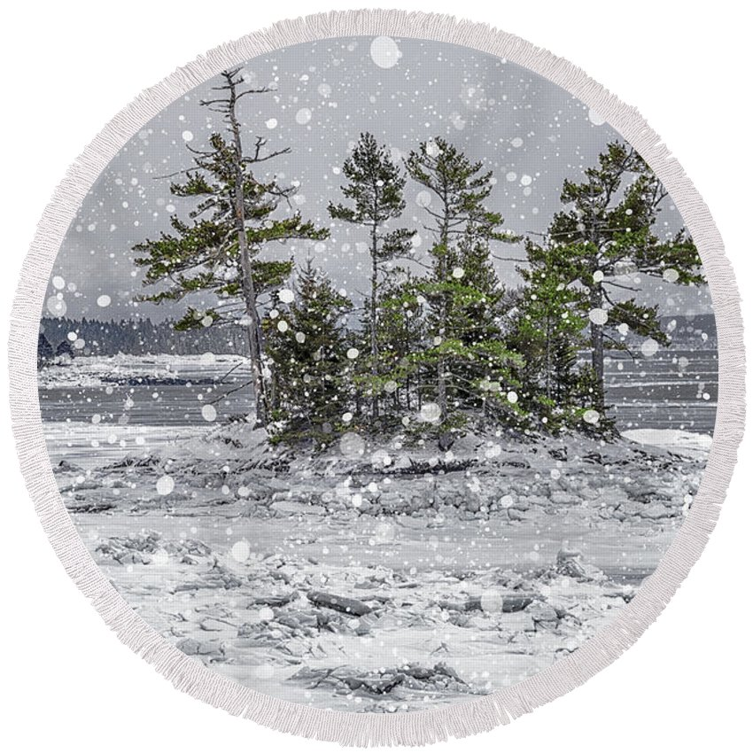Snow Round Beach Towel featuring the photograph Mount Desert Narrows Snowscape by Marty Saccone