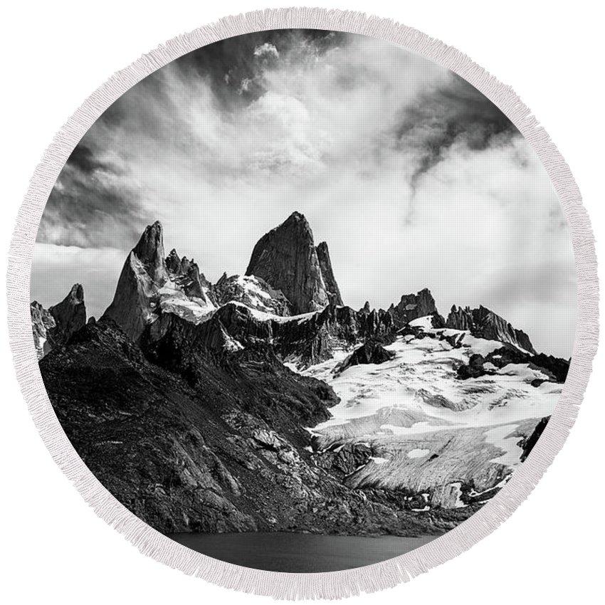 Mount Round Beach Towel featuring the photograph Mount Fitz Roy by Lorraine Kourafas