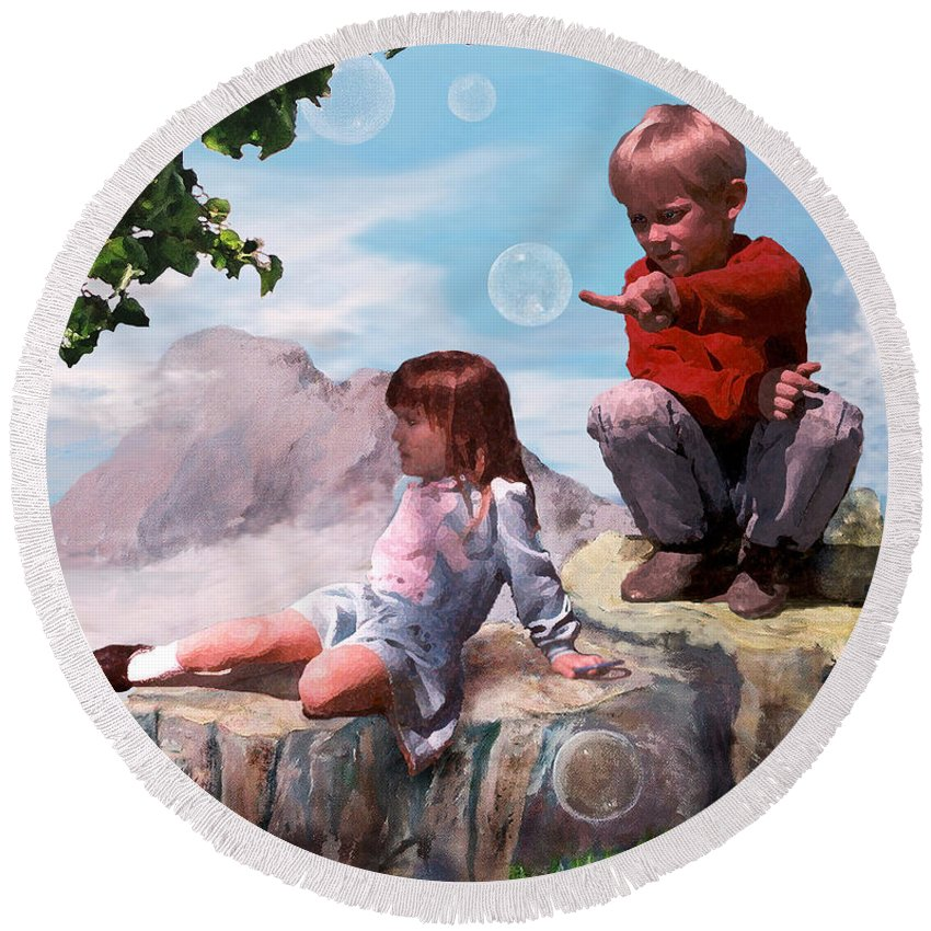 Landscape Round Beach Towel featuring the painting Mount Innocence by Steve Karol