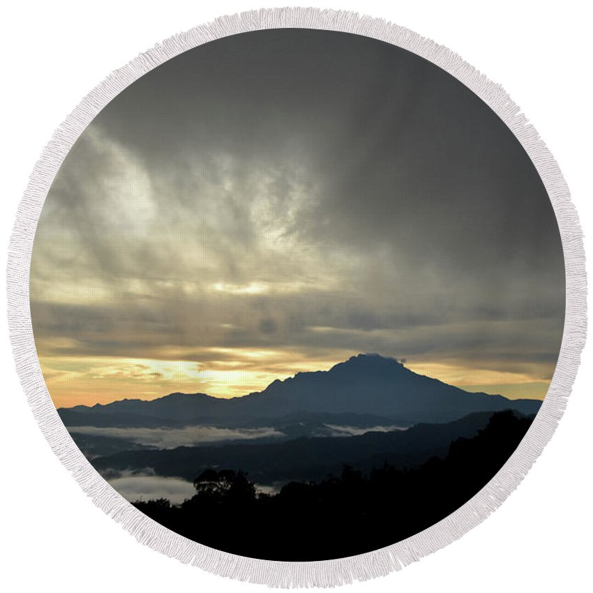 Mount Round Beach Towel featuring the photograph Mount Of Borneo Malaysia by Peter Gabriel