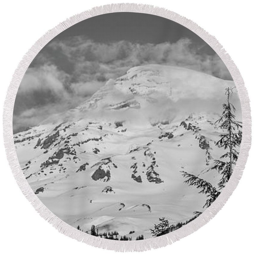 Round Beach Towel featuring the photograph Mount Rainier by Jacob Rietta Rain