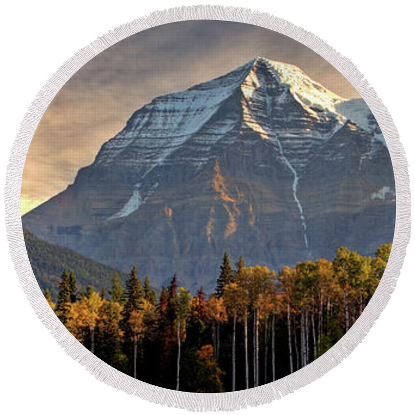 Round Beach Towel featuring the digital art Mount Robson by Mark Duffy
