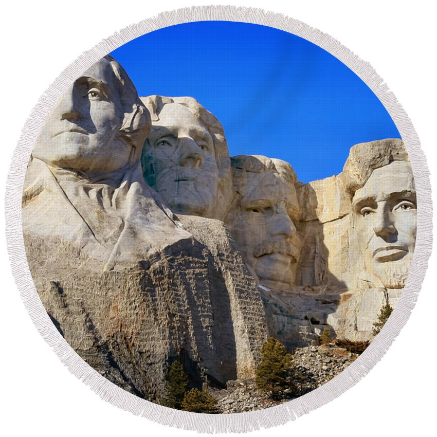 Mount Rushmore Round Beach Towel featuring the photograph Mount Rushmore by Susan Rissi Tregoning