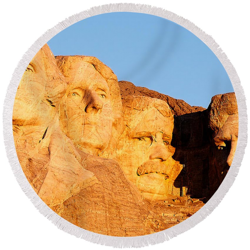 Mount Rushmore Round Beach Towel featuring the photograph Mount Rushmore by Todd Klassy