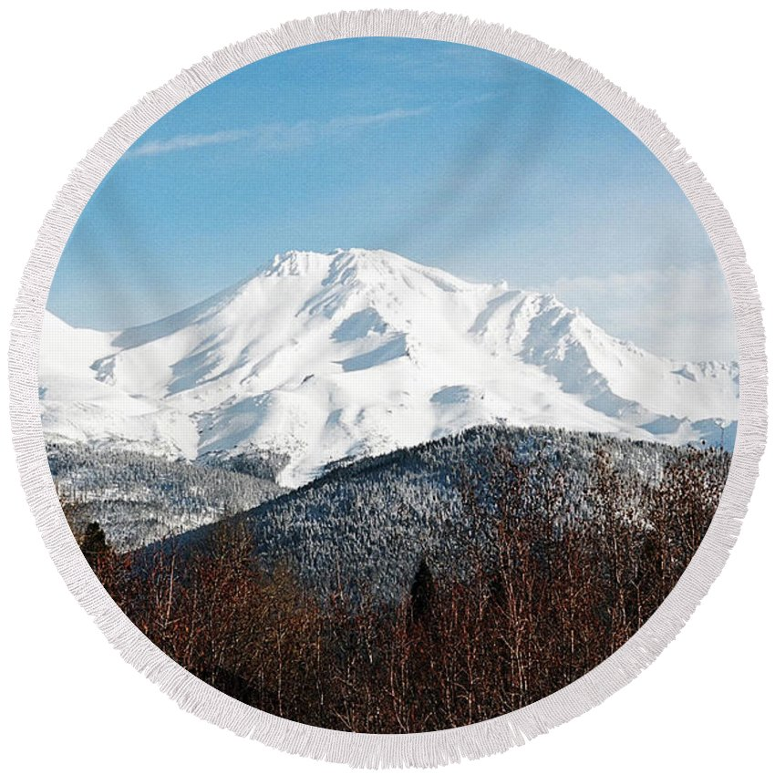 Mount Shasta Round Beach Towel featuring the photograph Mount Shasta by Anthony Jones