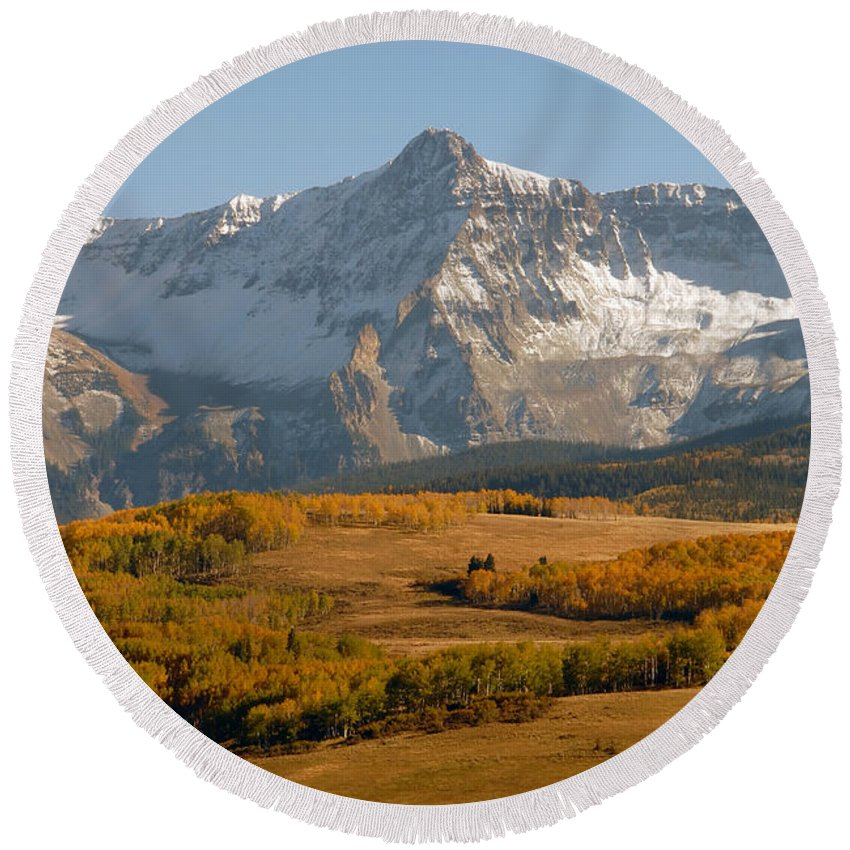 Mount Sneffels Round Beach Towel featuring the photograph Mount Sneffels by David Lee Thompson
