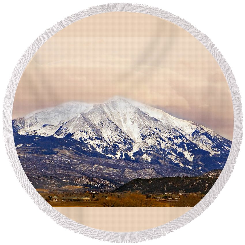 Americana Round Beach Towel featuring the photograph Mount Sopris by Marilyn Hunt