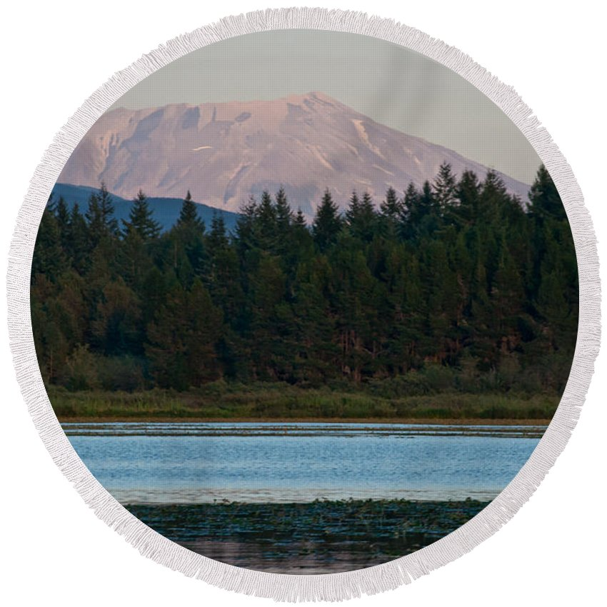 Mount St. Helens Round Beach Towel featuring the photograph Mount St. Helens by Robert J Caputo