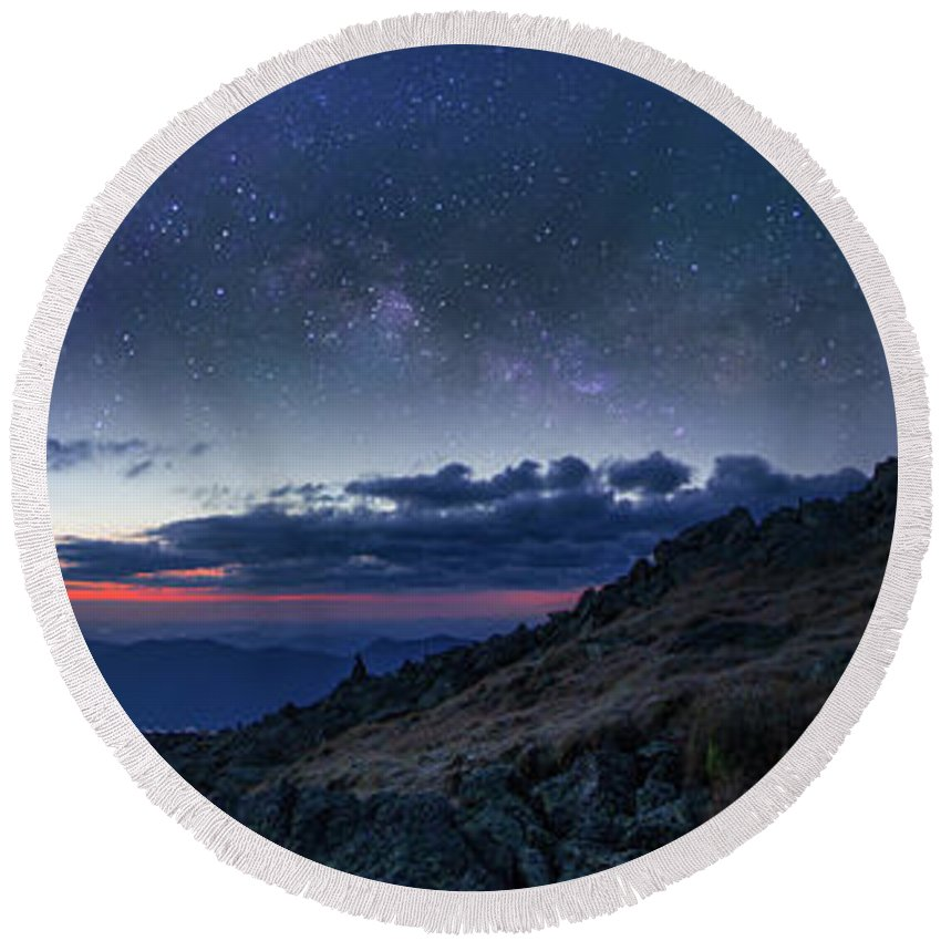 Mount Round Beach Towel featuring the photograph Mount Washington Summit Milky Way Panorama by Chris Whiton