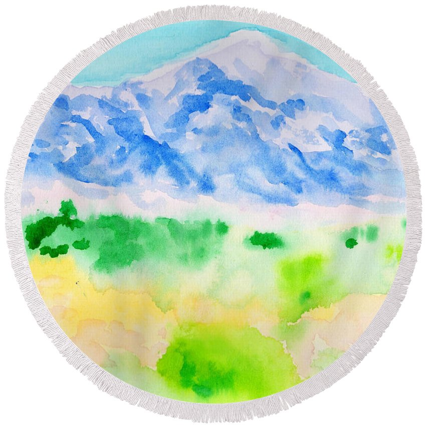 Landscape Round Beach Towel featuring the painting Mount Whitney by Christopher O'Kelley