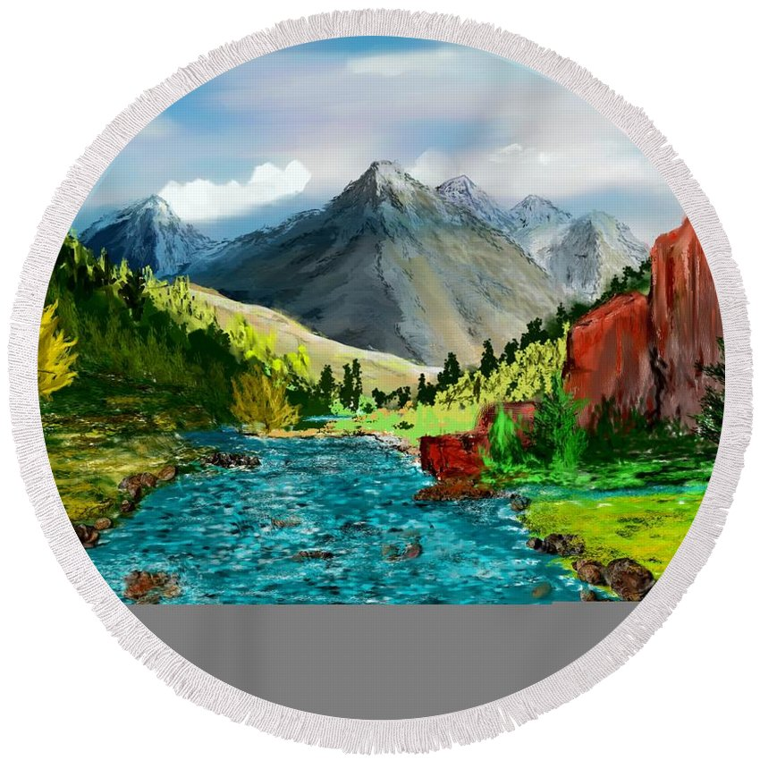 Digital Photograph Round Beach Towel featuring the digital art Mountaian Scene by David Lane