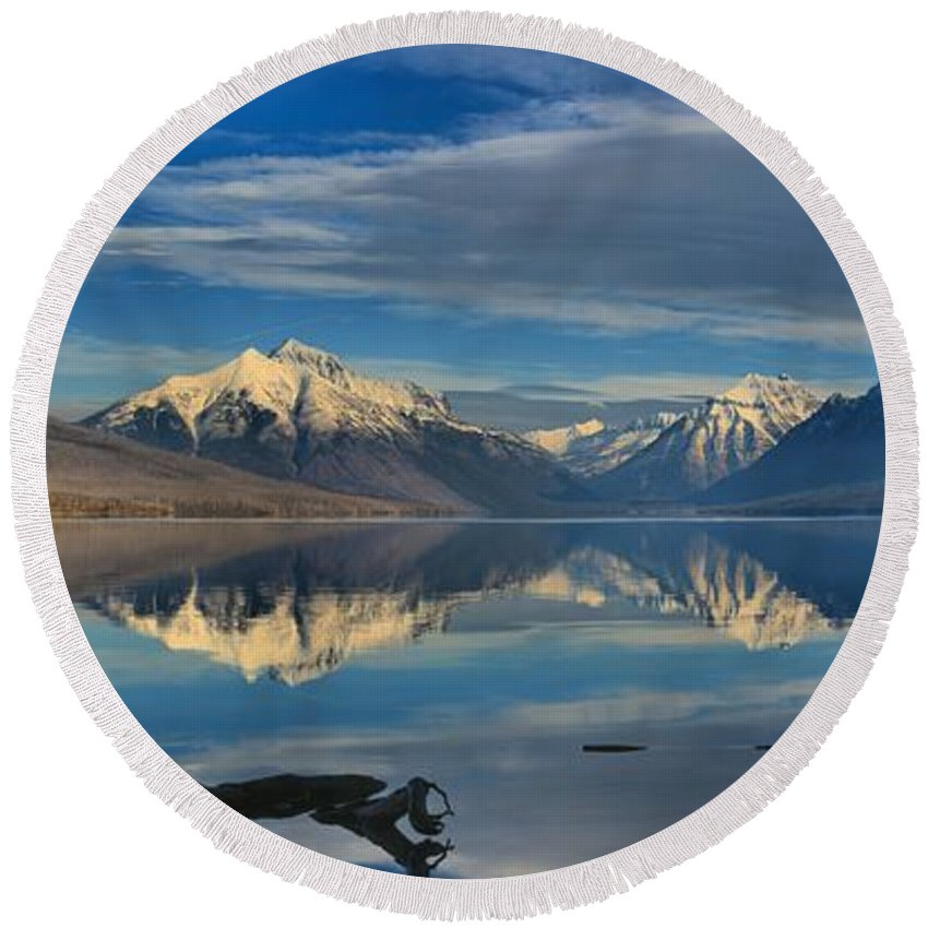 Lake Mcdonald Round Beach Towel featuring the photograph Mountain And Driftwood Reflections by Adam Jewell