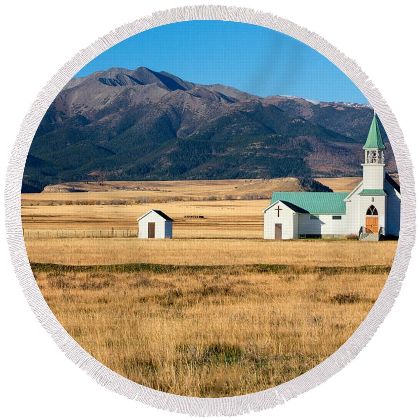 Church Round Beach Towel featuring the photograph Mountain Chapel by Todd Klassy
