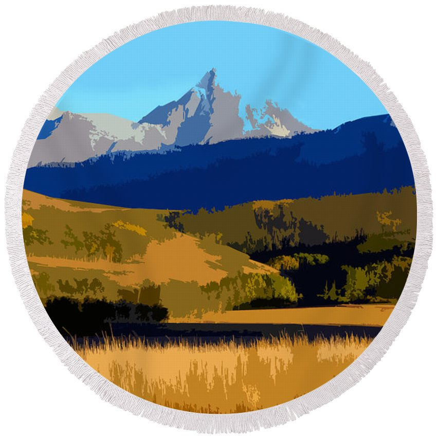 Mountains Round Beach Towel featuring the painting Mountain Country by David Lee Thompson