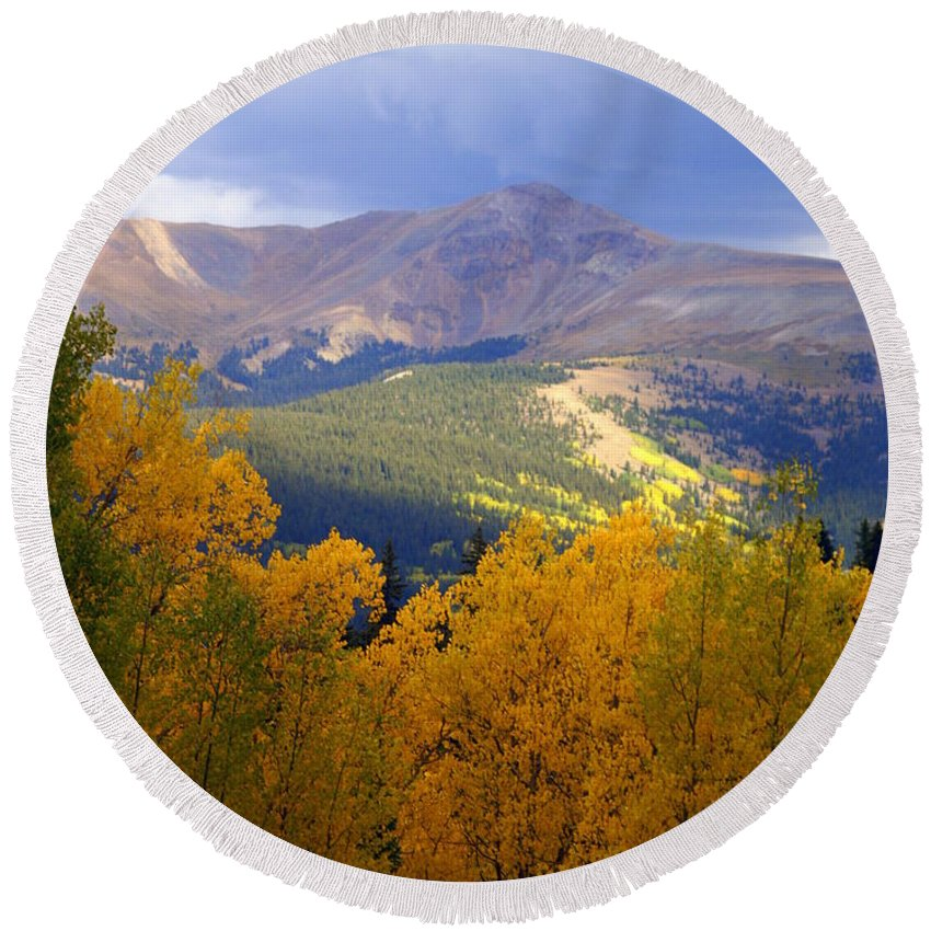 Colorado Round Beach Towel featuring the photograph Mountain Fall by Marty Koch
