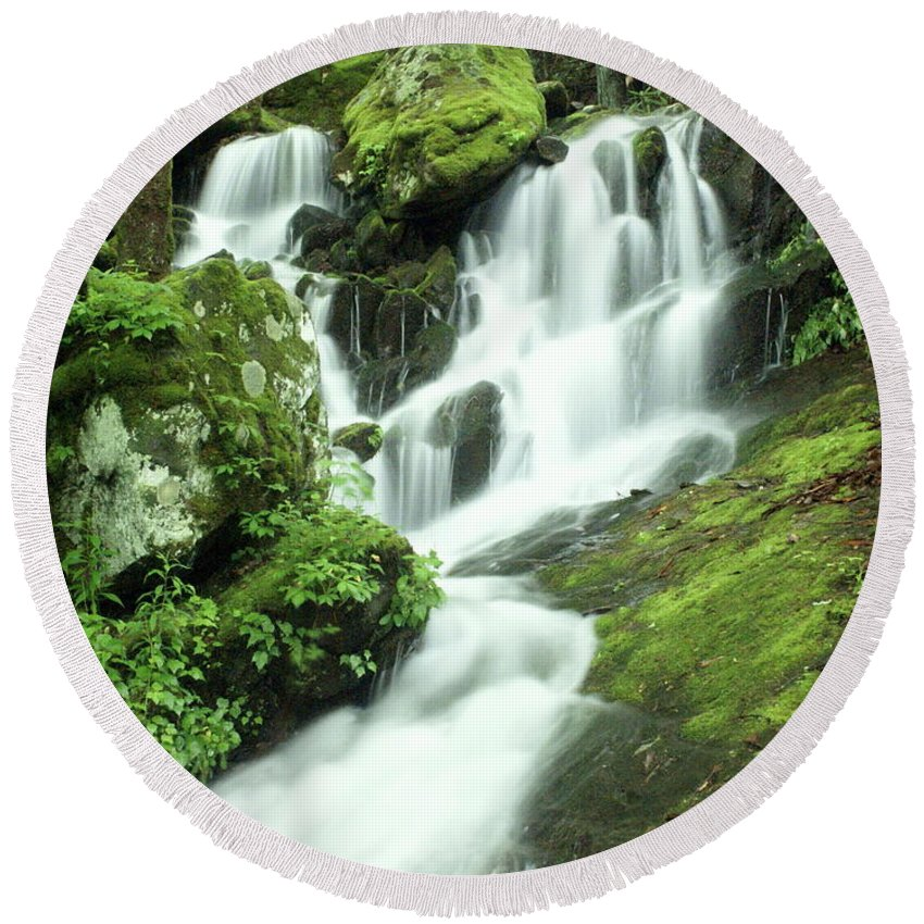Waterfalls Round Beach Towel featuring the photograph Mountain Falls by Marty Koch