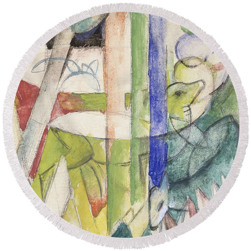 Mountain Goat Round Beach Towel featuring the painting Mountain Goat by Franz Marc