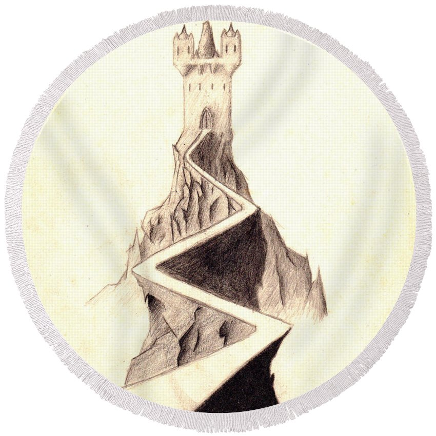 Castle Round Beach Towel featuring the drawing Mountain Keep by Guy Pettingell