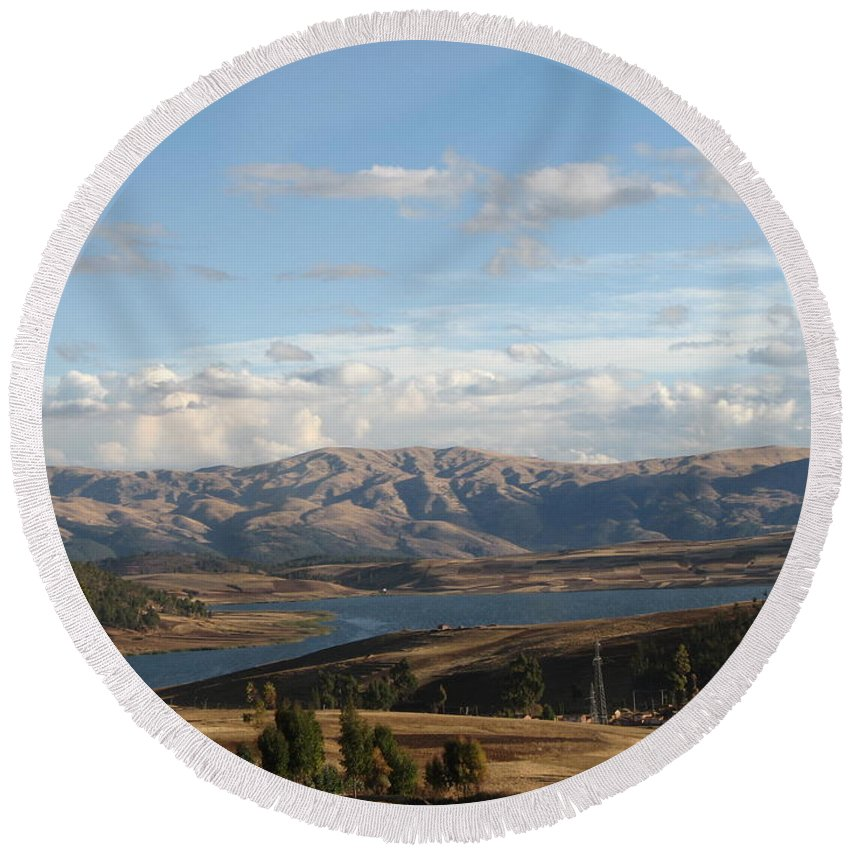 Landscape Round Beach Towel featuring the photograph Mountain Lake by Sandra Bourret
