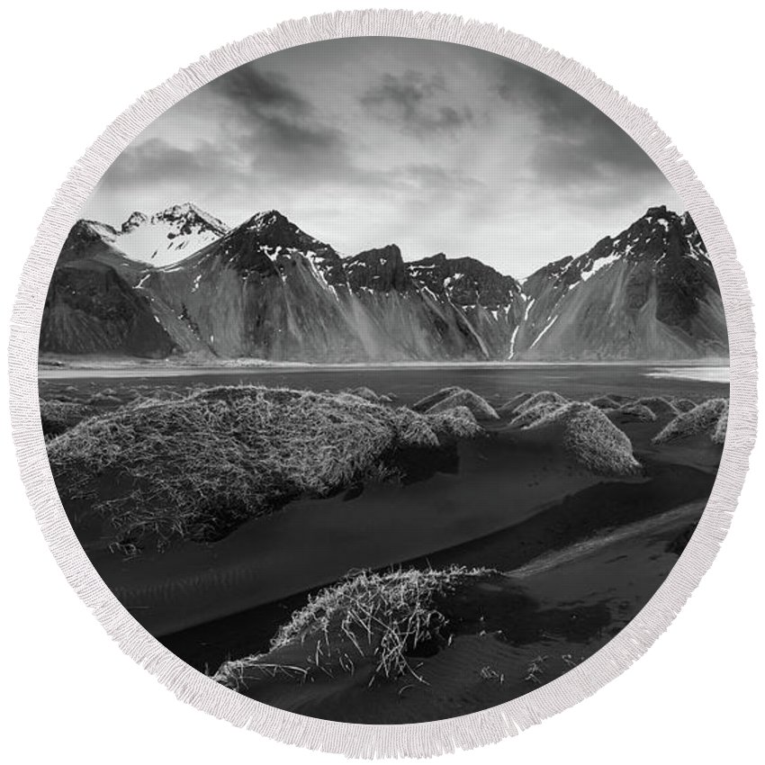 Icelandic Round Beach Towel featuring the photograph Icelandic Mountain Landscape by Michalakis Ppalis