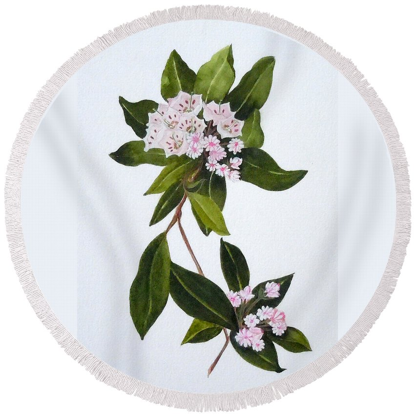 Mountain Laurel Round Beach Towel featuring the painting Mountain Laurel by Jean Blackmer