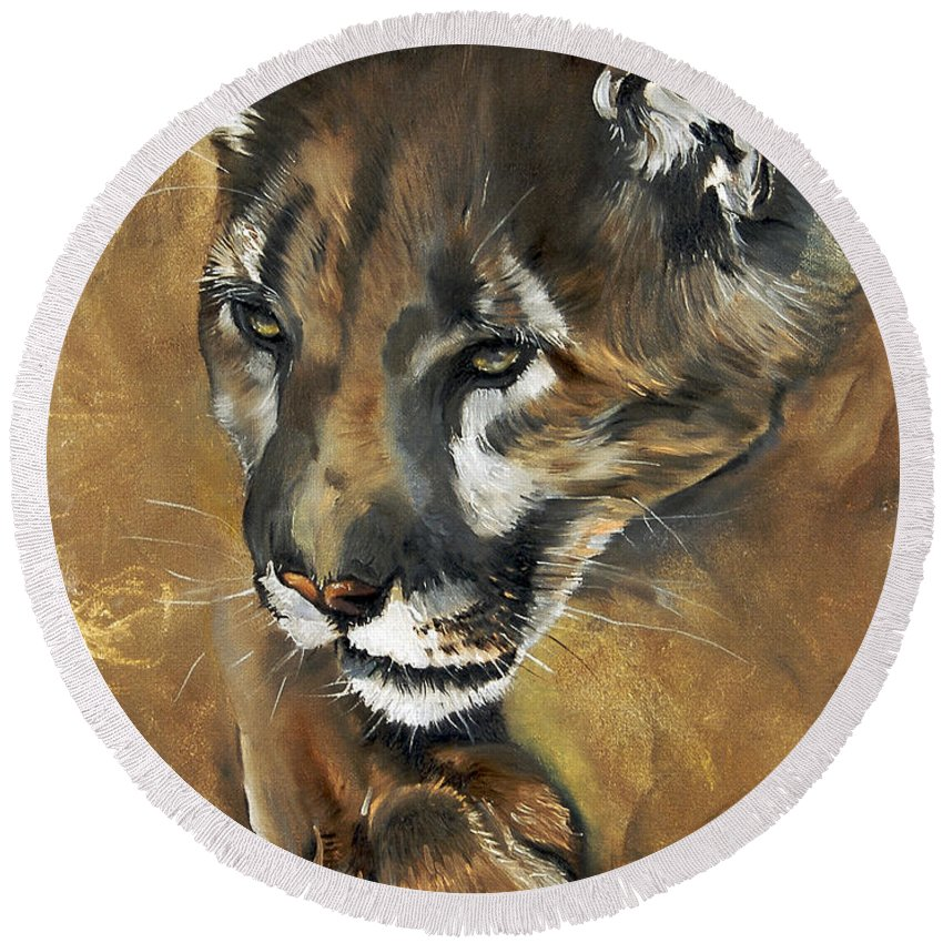 Southwest Art Round Beach Towel featuring the painting Mountain Lion - Guardian of the North by J W Baker