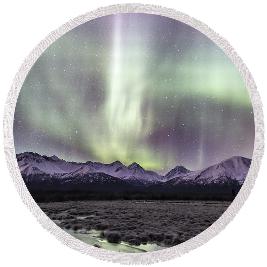Alaska Round Beach Towel featuring the photograph Mountain Magic by Matt Skinner