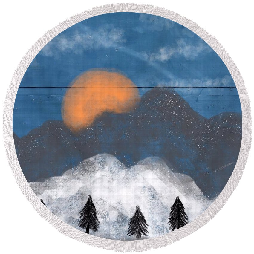 Mountain Round Beach Towel featuring the painting Mountain by Mark Taylor