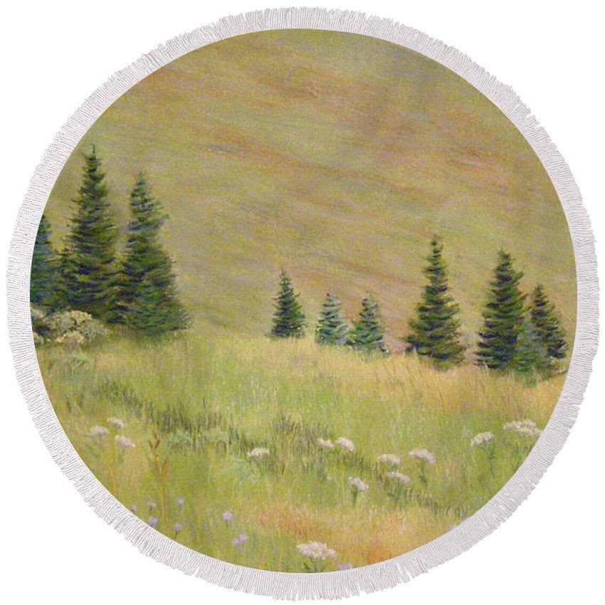 Landscape Round Beach Towel featuring the painting Mountain Meadow by Lynn Quinn