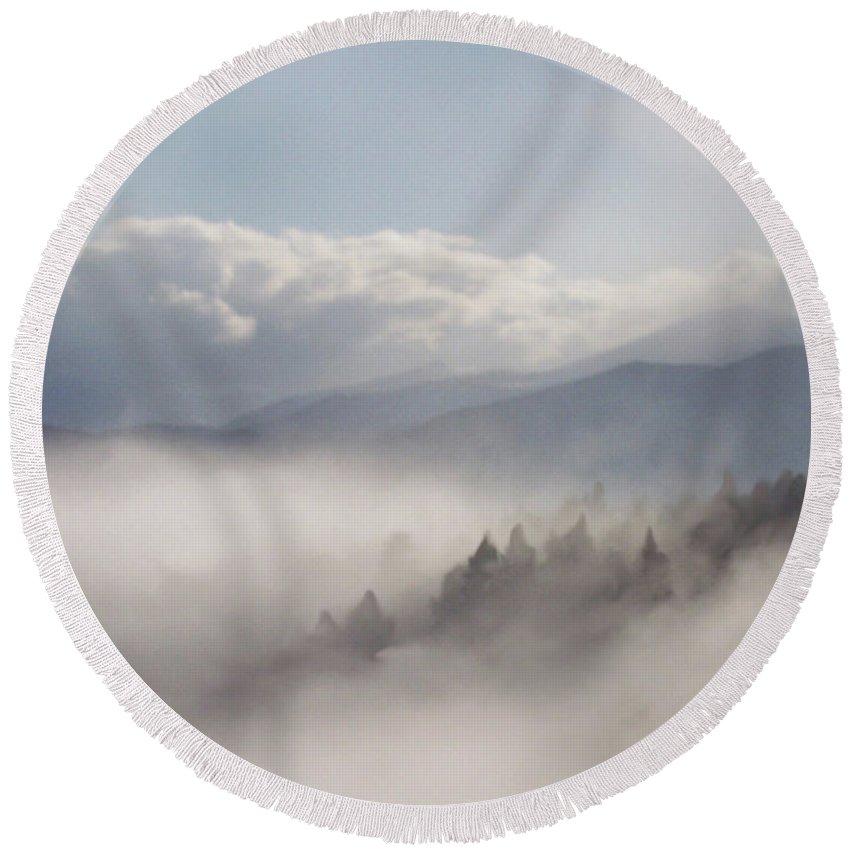 Mountain Round Beach Towel featuring the mixed media Mountain Mist by Carol Cavalaris