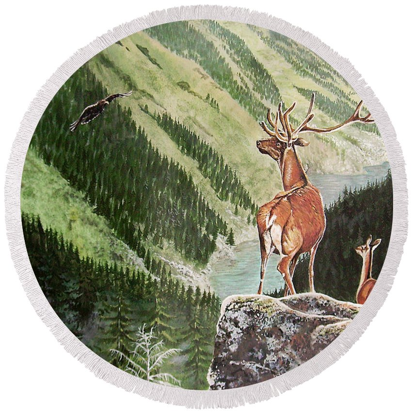 Deer Round Beach Towel featuring the painting Mountain Morning by Arie Van der Wijst