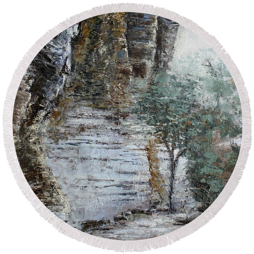 Landscape Round Beach Towel featuring the painting Mountain Pass by Todd Blanchard