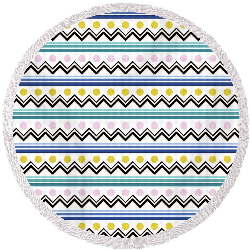 Mountain Round Beach Towel featuring the digital art Mountain Pattern by Elizabeth Tuck