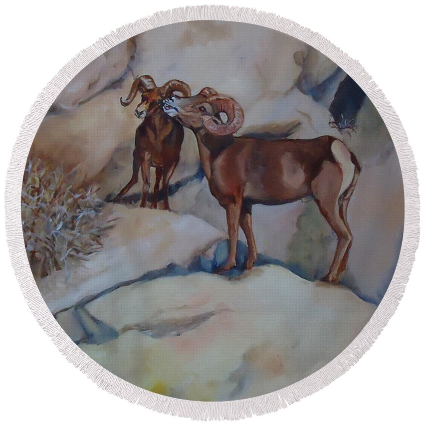 Two Mountain Sheep Meet In The Rocks. Mountain Sheep Round Beach Towel featuring the painting Mountain Sheep Gab Session by Charme Curtin
