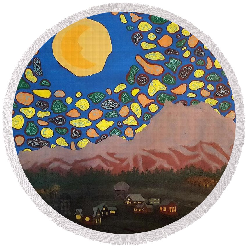 Night Sky Round Beach Towel featuring the painting Mountain Sky by Shane Neilson