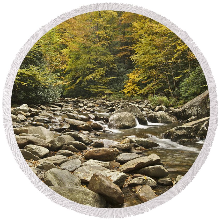 Tennessee Round Beach Towel featuring the photograph Mountain Stream 6058 by Michael Peychich