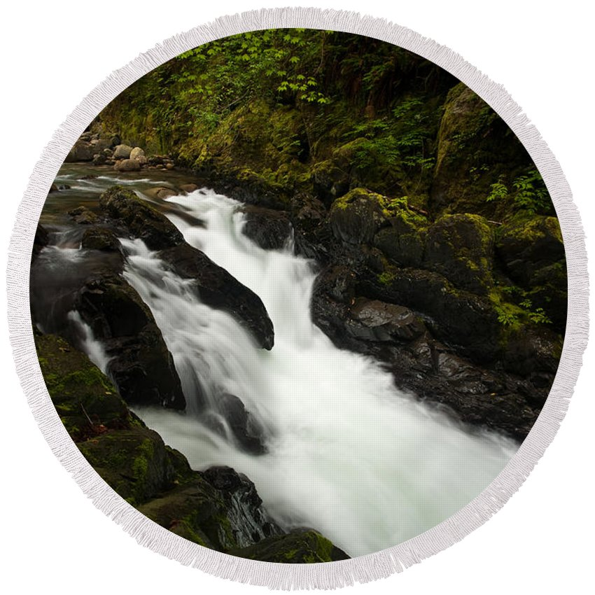 Stream Round Beach Towel featuring the photograph Mountain Stream by Mike Reid