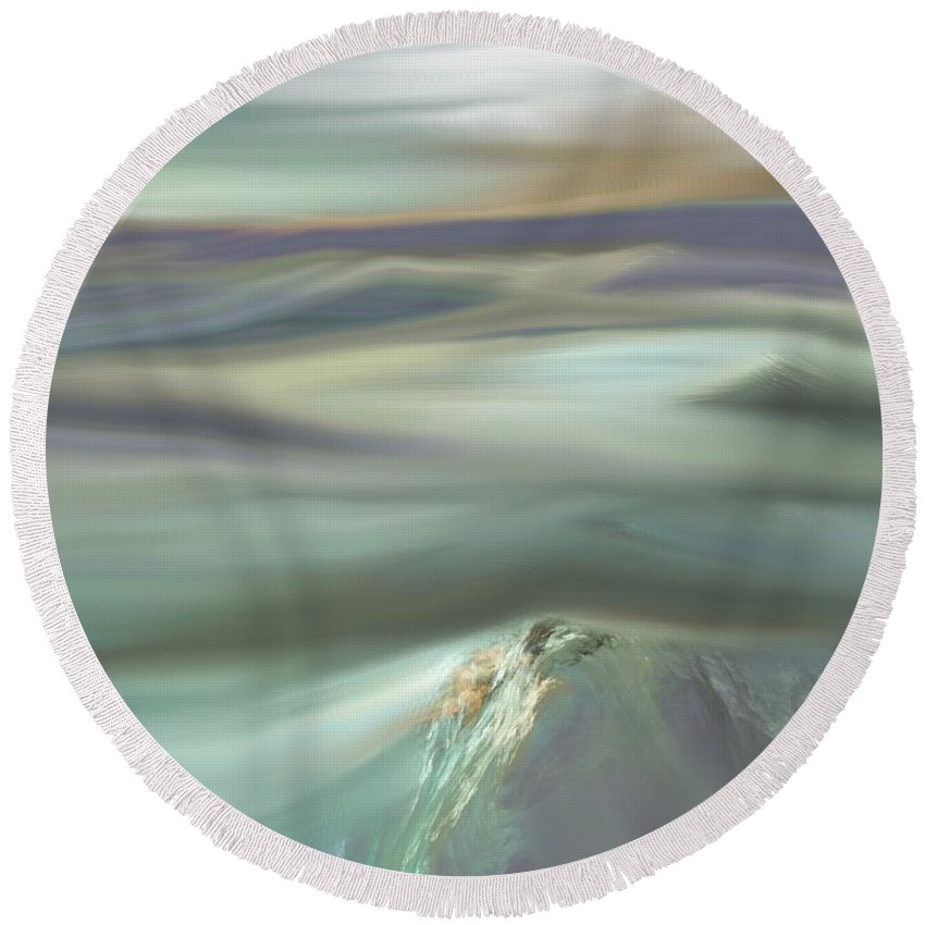 Fine Art Round Beach Towel featuring the digital art Mountain View by David Lane