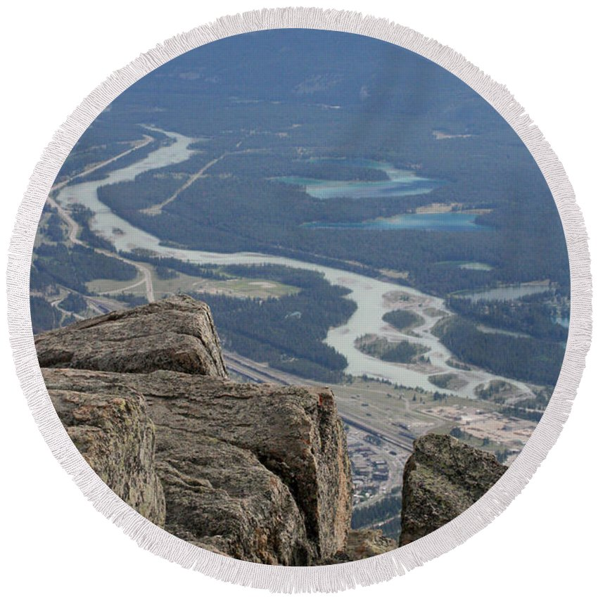 Rocky Mountains Round Beach Towel featuring the photograph Mountain View by Mary Mikawoz