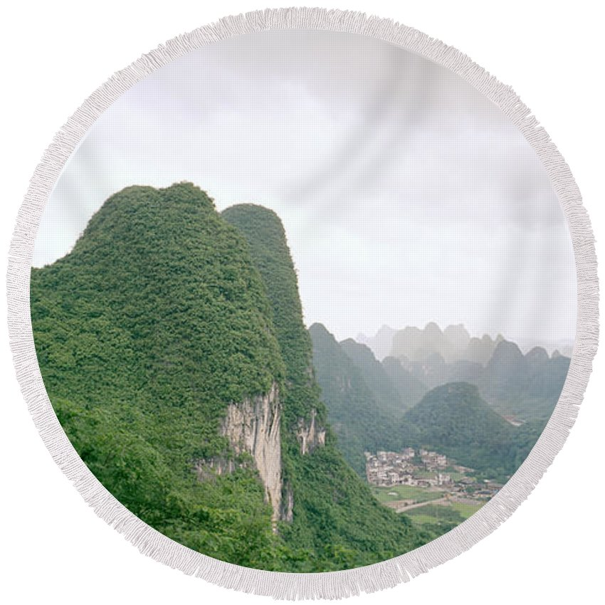 China Round Beach Towel featuring the photograph China Mountain View by Shaun Higson
